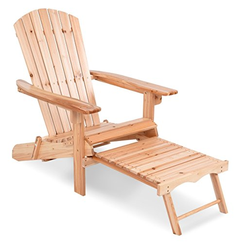 MyEasyShopping Patio Foldable Wood Adirondack Chair w/ Footrest Stool by MyEasyShopping