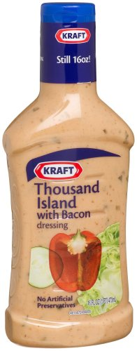 Kraft Thousand Island with Bacon Dressing, 16-Ounce Plastic Bottles (Pack of 6)