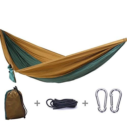 Camping Hammock - Lightweight Nylon Portable Hammock, Best Parachute Double Hammock for Backpacking, Camping, Travel, Beach (Color : Brown, Size : 270x140cm)