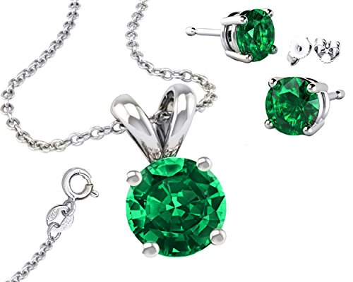Synthetic-Emerald-Cubic-Zirconia-925-Sterling-Silver-Necklace-Round-Combo-Earrings-Pendant-and-18-Inch-Rolo-Chain