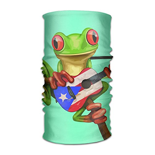 Price comparison product image Frog Playing Puerto Rico Flag Guitar Unisex Fashion Quick-drying Microfiber Headdress Outdoor Magic Scarf Neck Neck Scarf Hooded Scarf Super Soft Handle
