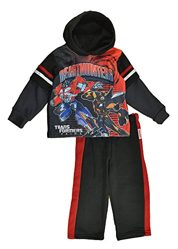 Transformers Little Boys Black Pull Over Hoodie 2pc Sweat Suit (2T) -