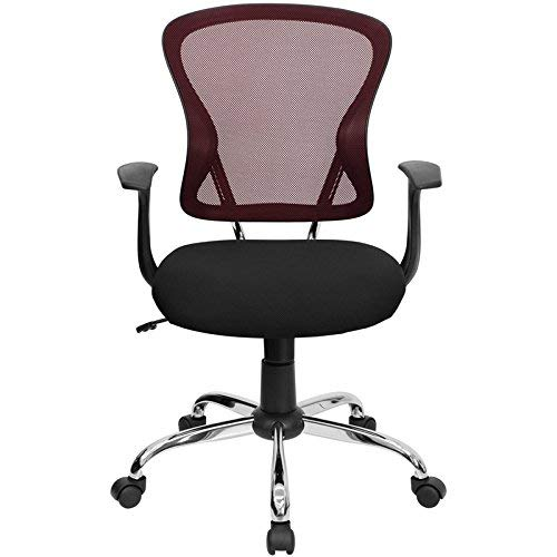 Flash Furniture Mid-Back Burgundy and Black Mesh Swivel Task Chair with Chrome Base and Arms