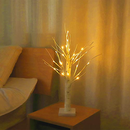 2' Birch (WED Lighted Birch Tree in 2Ft on The Tabletop with 24 LED Warm White,Home Décor for X'Mas,Party,Wedding.)