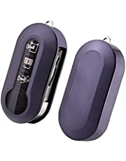 SKTU FIAT 500 /FIAT 500L toetsen autosleutel - TPU sleutelhoes cover (lila zwart)