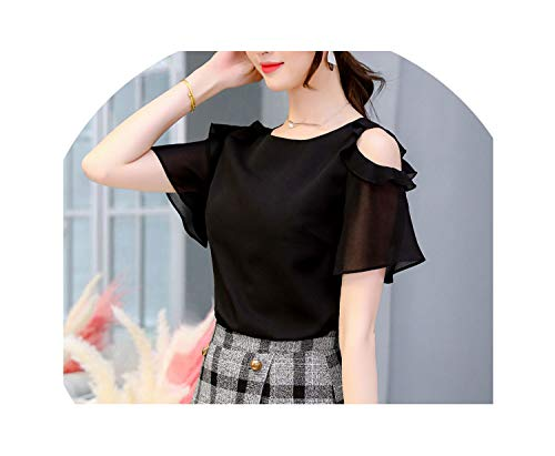 (For What Reason Women Blouses Solid O-Neck Hollow Out Short Butterfly Sleeve Casual Tops Blouse Blusas Mujer,AS PICTURE2,XL)