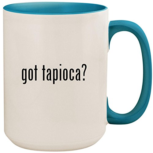 Seed Pearl Tapioca - got tapioca? - 15oz Ceramic Colored Inside and Handle Coffee Mug Cup, Light Blue