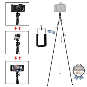 Phone Camera Stand Tripod, ZIPPOD 45 Inch Flexible And Compact Camera Tripod 10 Oz Lightweight Travel Tripod With Phone Tripod Mount Adapter For Iphone 6, Smartphone And DSLR Camera With Carry Bag