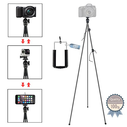 Phone Camera Stand Tripod, ZIPPOD 45 Inch Flexible And Compa