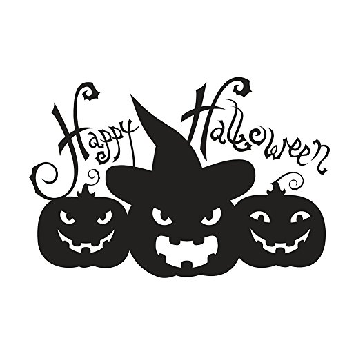 Baost Removable Happy Halloween Pumpkin Wall Art Decal Clings Sticker Mural Window Decal DIY Pumpkin Halloween Wall Scary Stickers for Kids Rooms Nursery Halloween Party Favors Black
