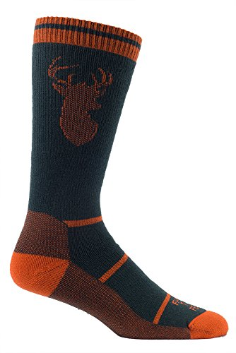 Farm to Feet Men's Englewood Midweight Crew Socks, Sycamore/Red Orange, Large
