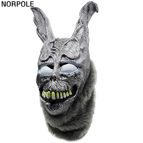 PKRISD Funny Halloween Donnie Darko Frank The Bunny Rabbit MASK Latex Overhead with Fur Adult Costume Animal Masks for Party Cosplay
