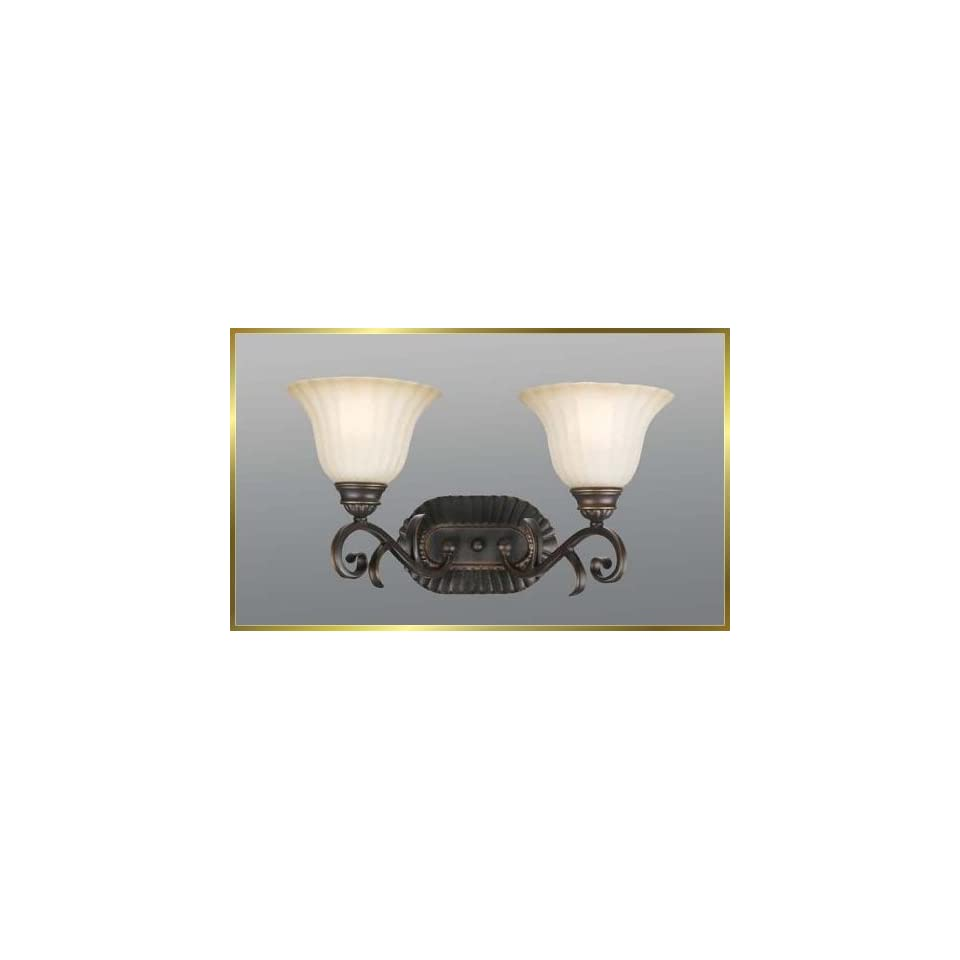 Wrought Iron Wall Sconce, JB 7372, 2 lights, Oiled Bronze, 18 wide X 10 high