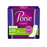 Poise Incontinence Panty Liners, Very Light Absorbency, Regular Length, Unscented, 126 Count (Packaging May Vary)