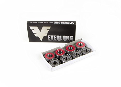 Everlong Precision Skateboard Bearings, Pro Longboard Bearings, 608RS (Pack of 8)