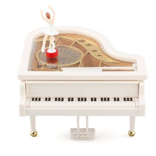 MAYMII Mechanical Classical Ballerina Girl on the Piano Music Box (Piano Musical Jewelry Box)