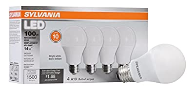 Sylvania Home Lighting 78102 A19 Sylvania, 100 W Equivalent, LED Light Bulb Lamp, 4 Pack, Efficient 14 W 3500K, Bright White, 4 Piece