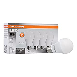 SYLVANIA General Lighting 78102 Sylvania Non-Dimmable Led Light Bulb, 14 W, 120 V, 1500 Lumens, 3500 K, CRI 80, 2.375 in Dia X 4.29 in L, 4-Pack, Bright White, 4 Count