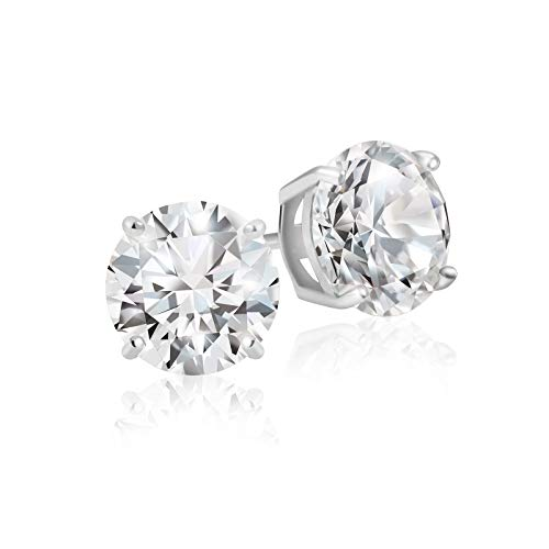 Lusoro 925 Sterling Silver Round Cut AAA Cubic Zirconia Stud Earrings - 1 Carat Total Weight -