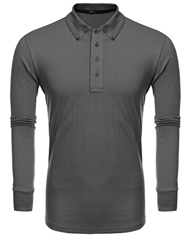 Mens Pullover Sleeve Long - Coofandy Mens Long Sleeve Polo Shirt Casual T-shirt, Size Large, Grey