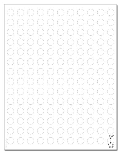 (Waterproof White Matte 0.5 inch Diameter Circle Labels for Laser Printers with Template and Printing Instructions, 5 Sheets, 770 Labels (JC50))
