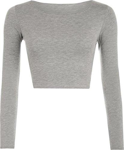 WearAll Women's Crop Long Sleeve Ladies Plain T-Shirt Top - Light Grey - US 4-6 (UK 8-10)