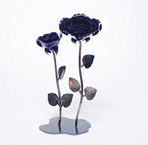 Double Hand-Forged Wrought Iron Purple Metal Roses