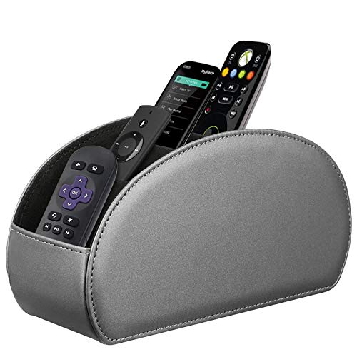 Fintie Remote Control Holder, Vegan Leather TV Remote Caddy Desktop Organizer 5 Compartments Fits TV Remotes, Media Controllers, Office Supplies, Makeup Brush, Silver - Compartments Organizer Desktop 5