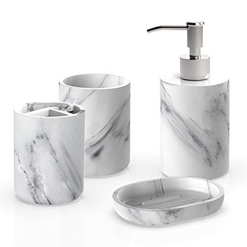 (Heylian Bathroom Accessories Set, 4 Pieces Bath Ensemble, Bath Set Collection Marble Pattern Soap Dispenser Pump, Toothbrush Holder, Tumbler, Soap Dish)