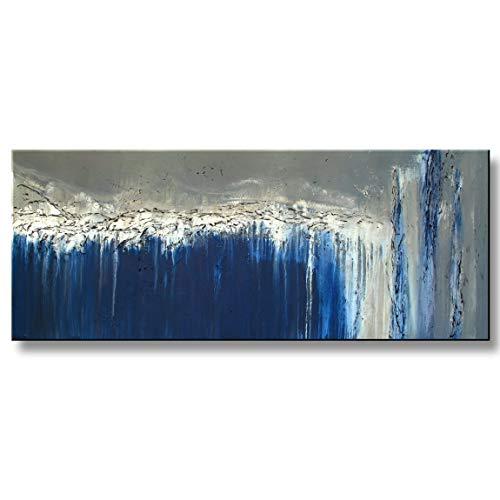 Abstract Modern Canvas Painting Limited Edition, Hand Embellished, Textured, Ready to Hang! 60 x 24 x 1.5 inch CRYSTAL BLUE PERSUASION...ELOISEWORLD -