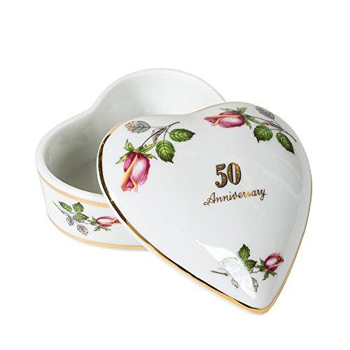 CBE 50th Anniversary Rose Heart Shaped 3 x 3 Inch Porcelain Trinket Jewelry Box