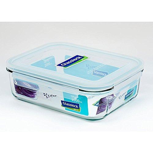 Glasslock Kit - Glasslock Airtight Break Resistant Glass Kitchen Food Storage Container, Lunch Box, Microwave Safe, 2000ml