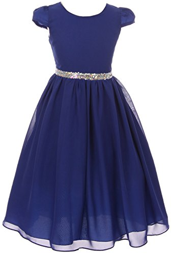 Chiffon Jeweled Dress - Little Girl Short Sleeve Chiffon Flower Girl Dress with Jeweled Belt Royal 4 KK 6420
