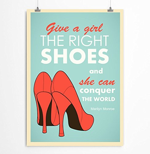 Marilyn Monroe quote art print, Give a girl the right shoes and she can conquer the world, Fashion poster, 5x7, 8x10, 11x14, 12x16, 13x19 inches - Unframed