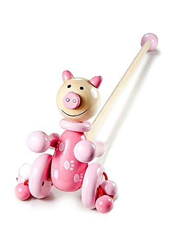 Mousehouse Gifts Wooden Push Pull Baby Toddler Toy Pink Pig Farm Animal for Girls