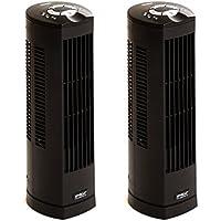Seville Classics UltraSlimline 17 in. Oscillating Personal Tower Fan (2-Pack), Black