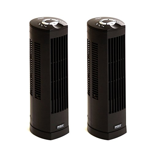 Seville Classics UltraSlimline 17 in. Oscillating Personal Tower Fan (2-Pack), Black