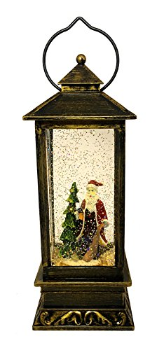 LED Christmas Gift Copper Antique Style Lantern: Light-Up Swirl Dome Snow Globe With Liquid Glitter (Santa Claus FD 1011) (Snow Claus Santa)