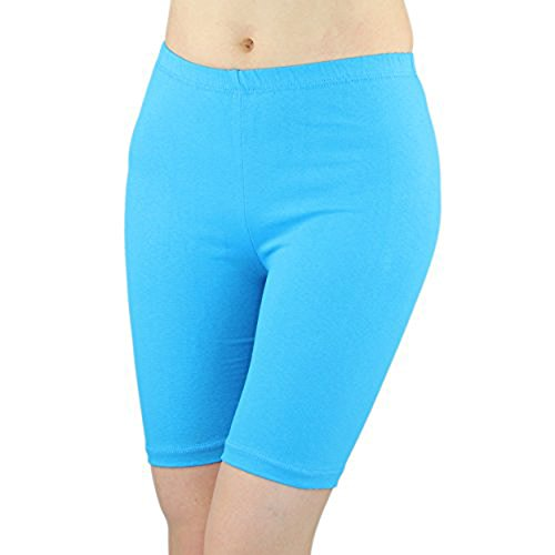 Turquoise Cotton Spandex - Women's Stretchy Cotton Lycra Above Knee Short Active Leggings (Large, Turquoise)