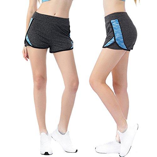 XDIAN Cortocircuitos deportivos femeninos Correr yoga Cortocircuitos rápidos secos antiexposición Blue