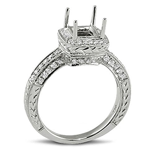 Dazzlingrock Collection 0.52 Carat (ctw) 18k Princess & Round Diamond Ladies Semi Mount Bridal Ring (No Center Stone), White Gold