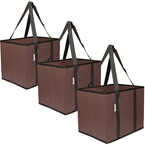 Reusable Grocery Bag Shopping Boxes 3 Pack | Collapsible, Durable, Foldable, Heavy Duty Premium Tote Box Set for Groceries, Trunk Organizer and Home Storage | Stylish Design and Colors (Coffee/Black)