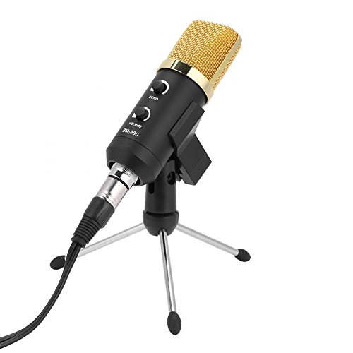 USB Microphone with Reverb Effect, Mini Portable Condenser Studio Broadcasting Recording Microphone Pop Filter Stand Kit with Tripod Stand for Recording of Vocals and Instruments (Gold)