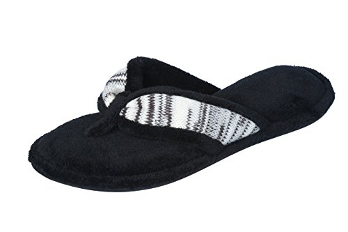 Joan Vass Woman's Spa Thong Flipflop Slippers in Fun Chic Embroidered Colors (6-7 B(M) US, White/Black)