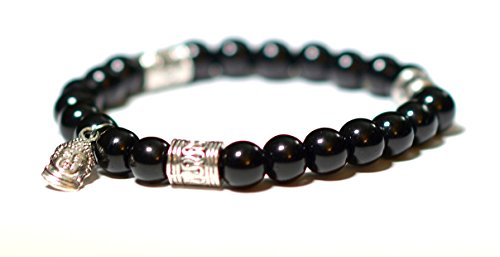EUPHORIA : Defender Jewelry Collection: Black Onyx bead Bracelet with Buddha Charm Natural Stone Meditation Yoga Healing Men Women Luxury Bracelet Bangle