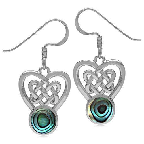 Silvershake 7mm Round Shape Abalone Paua Shell Inlay 925 Sterling Silver Celtic Heart Knot Dangle Hook Earrings
