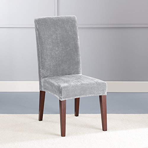 Stretch Plush Short Dining Room Chair Slipcover Sure Fit - Light Grey