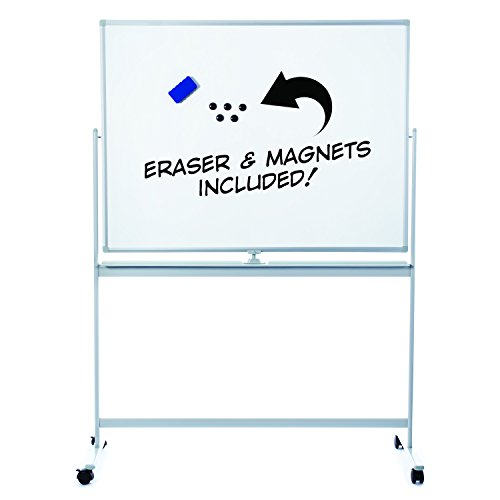 Large Rolling Whiteboard with Stand | Easy Clean 48x36 Flip-Over Dry Erase Board on Wheels. Double Sided Magnetic Portable Writing Board with Magnets and Eraser for Office, Classroom, or Home - Magnetic Dry Erase Board Black