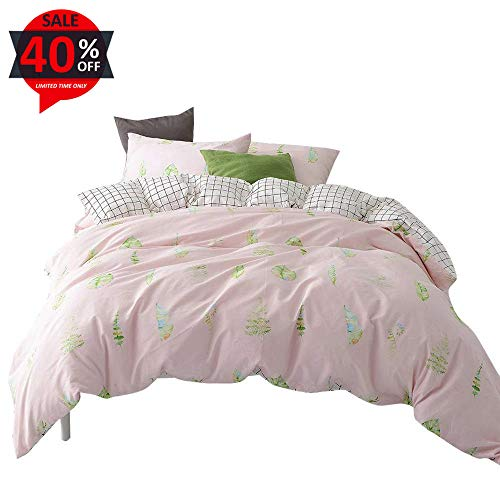 Hawaiian Comforter (BuLuTu Kids Duvet Cover Sets Queen Cotton Pink/White Reversible Grid 3 Pieces Girls Bedding Sets Full,Modern Tropical Palm Tree Leaves Pattern,Gift for Women,Lover,Family,Wife,Friend,Girlfriend,Her)
