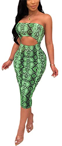 Womens Bodycon Tube Top Dress Sexy Strapless Snakeskin Leopard Print Hollow Out Midi Dress Club Outfits ()